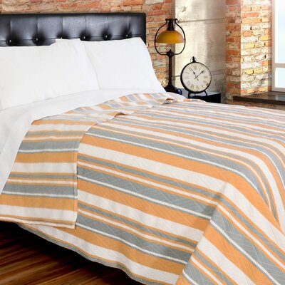 Fute Stripe 380 GSM Oversized Brushed Blanket Size: Twin, Color: Gray/Gold