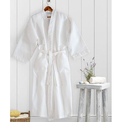 Kimono Waffle Bathrobe Size: Small, Color: White