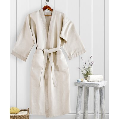 Kimono Waffle Bathrobe Size: Small, Color: Natural/Linen