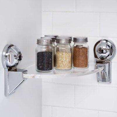 "Triangular Corner Shower with Powerful Suction Cup 13.63"" W Bathroom Shelf Finish: Chrome FE-B1016"