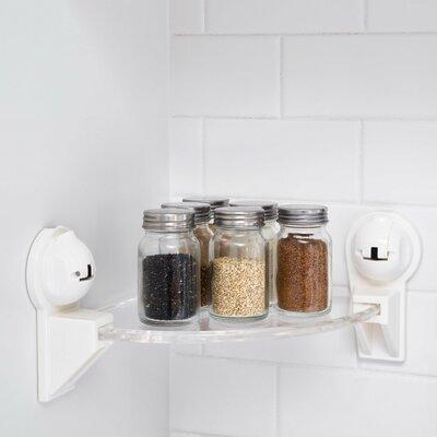"Triangular Corner Shower with Powerful Suction Cup 13.63"" W Bathroom Shelf Finish: White FE-B1012"