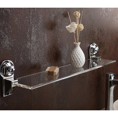 "Rectangular Waterproof with Powerful Suction Cup 25.75"" W Bathroom Shelf Finish: Chrome FE-B1011"