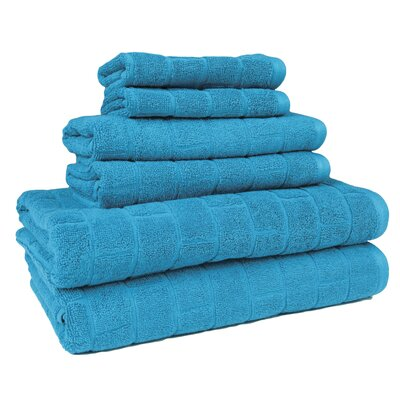 Cobblestone 6 Piece Towel Set Color: Teal
