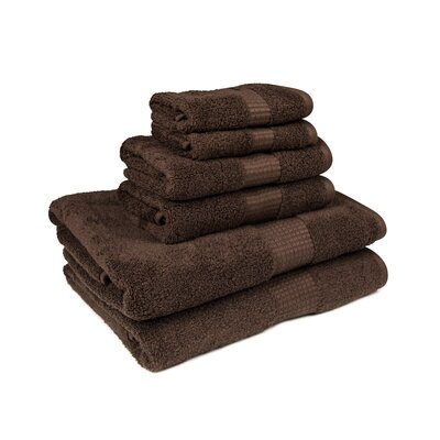 Crystal Bay 6 Piece Towel Set Color: Chocolate