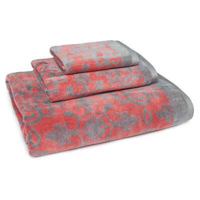DeRon Cotton 3 Piece Towel Set Color: Coral