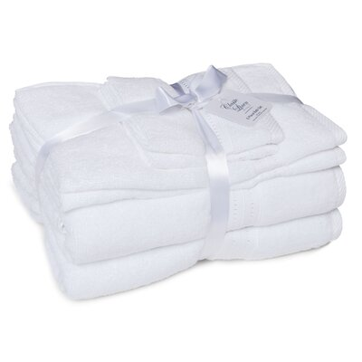 100% Cotton 6 Piece Towel Set Color: White