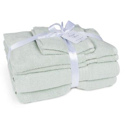100% Cotton 6 Piece Towel Set Color: Silver Sage