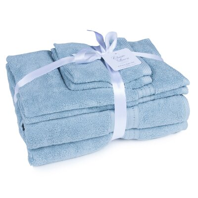 100% Cotton 6 Piece Towel Set Color: Cerulean Blue