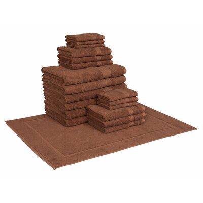 Cotton 19 Piece Towel Set Color: Chocolate