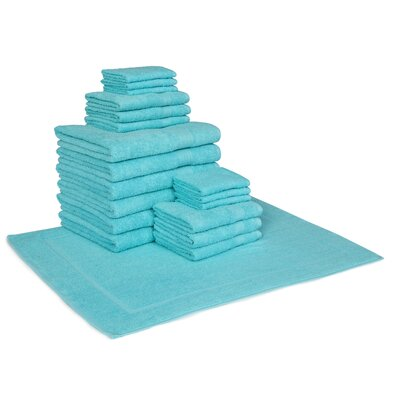 Cotton 19 Piece Towel Set Color: Turquoise
