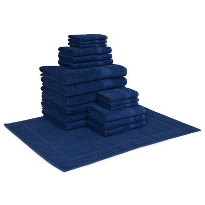 Cotton 19 Piece Towel Set Color: Navy