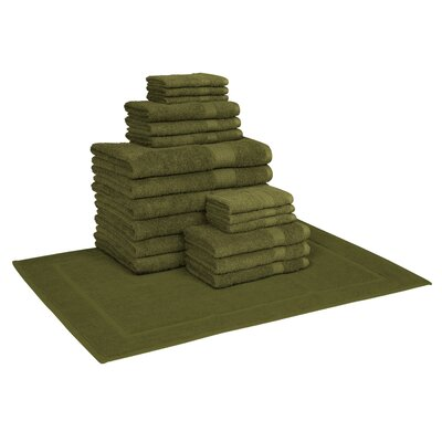 Trystan Cotton 19 Piece Towel Set Color: Forest Green
