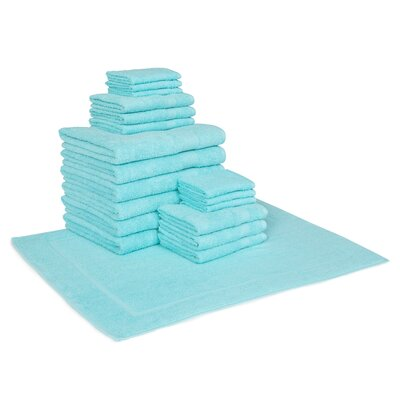 Trystan Cotton 19 Piece Towel Set Color: Aqua