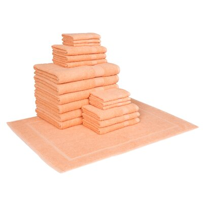 Cotton 19 Piece Towel Set Color: Coral