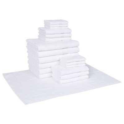Cotton 19 Piece Towel Set Color: White