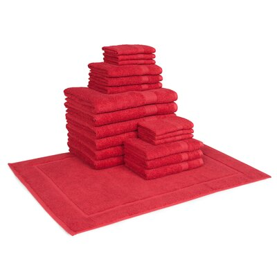 Trystan Cotton 19 Piece Towel Set Color: Red