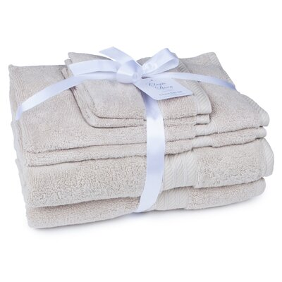 100% Cotton 2 Ply 6 Piece Towel Set Color: Flax