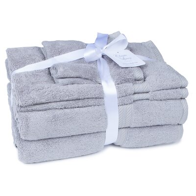 100% Cotton 2 Ply 6 Piece Towel Set Color: Pewter