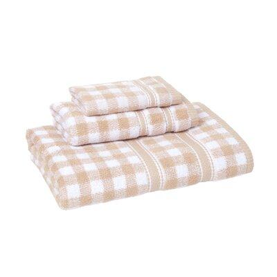 Danieli Gingham 3 Piece Towel Set Color: Sesame/White