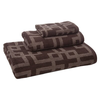 Brook 3 Piece Towel Set Color: Taupe/Chocolate
