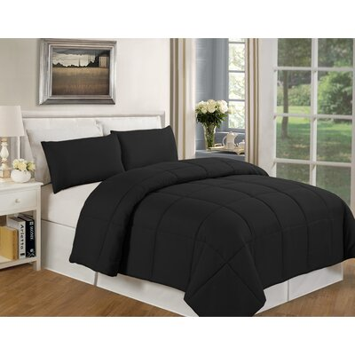 Eckhardt Home Comforter Size: Twin, Color: Black