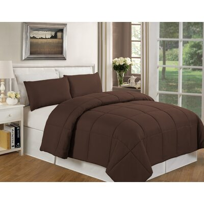 Eckhardt Home Comforter Size: Twin, Color: Chocolate