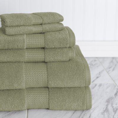 Crystal Bay 6 Piece Towel Set Color: Sage Gray