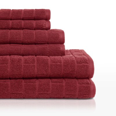 Cobblestone 6 Piece Towel Set Color: Barn Red