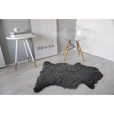 Genuine Swedish Gotland Sheepskin Gray Area Rug Rug Size: 4 x 2.8