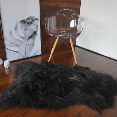 Augustin Sheepskin Black Area Rug