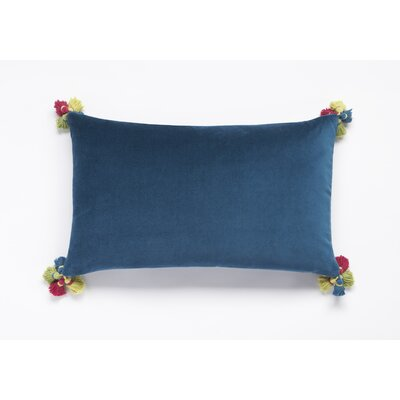Velvet with Tassels in Four Corners Lumbar Pillow Color: Teal