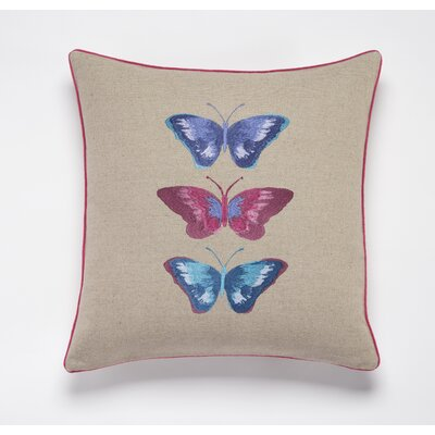 Embroided Buterflies Linen Throw Pillow Color: Linen