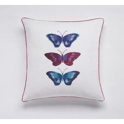 Embroided Buterflies Linen Throw Pillow Color: White