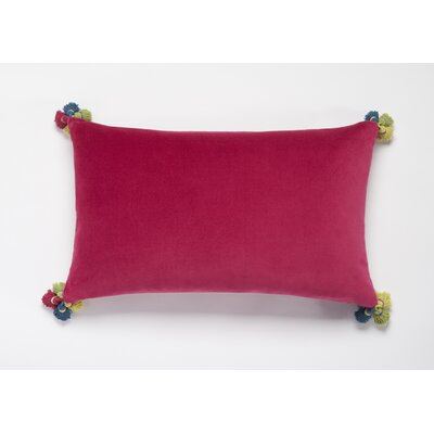 Velvet with Tassels in Four Corners Lumbar Pillow Color: Pink