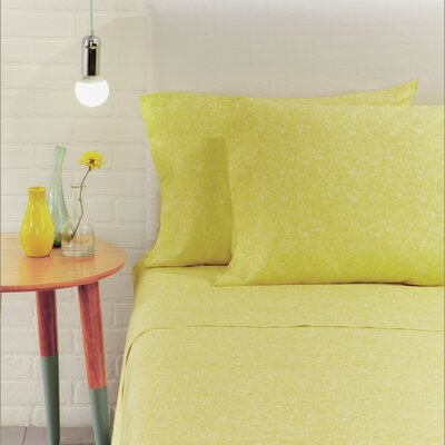 Flora Scatter 4 Piece 230 Thread Count 100% Cotton Sheet Set Color: Chartreuse, Size: Twin