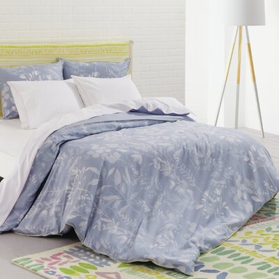 Fleur Cotton Duvet Set Color: Cornflower, Size: Full/Queen
