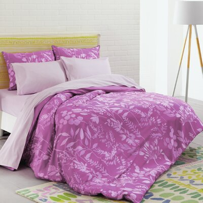 Fleur Cotton Duvet Set Color: Cerise Pink, Size: Full/Queen