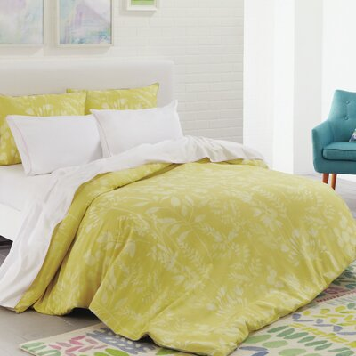 Fleur Cotton Duvet Set Color: Chartreuse, Size: King