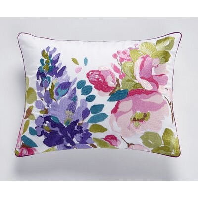 Wisteria Embroidered 100% Cotton Lumbar Pillow