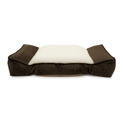 Memory Foam Orthopedic Bolster Contoured Lounger Pet Bed Mat with Sherpa Center Seat Color: Mocha Brown, Size: 8.5 H x 40 W x 26 D