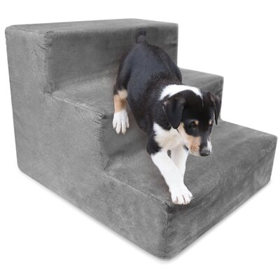High Density Foam 3 Step Pet Stair Color: Gray