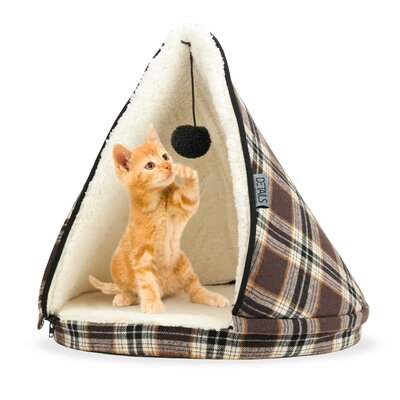 Plaid Teepee Cat Bed Color: Brown