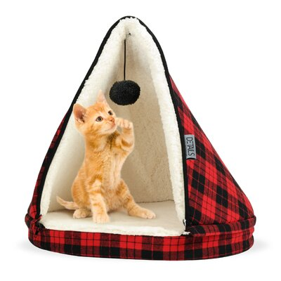 Plaid Teepee Cat Bed Color: Red