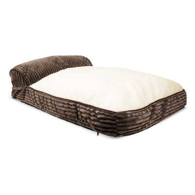 Restology Bolster Dog Bed with Corduroy Sides and Sherpa Top Color: Mocha Brown