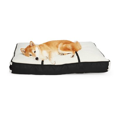 Cleveland Sherpa-Top Rectangular Pet Bed Pillow Size: 7 H x 35 W x 26 D, Color: Ivory/Black