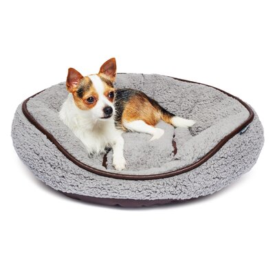 Sherpa Round Cuddler Pet Bed Color: Gray/Brown