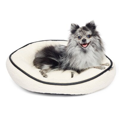 Sherpa Round Cuddler Pet Bed Color: Ivory/Black