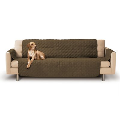 Durable Quilted Micro Suede Sofa Slipcover Upholstery: Mocha Brown
