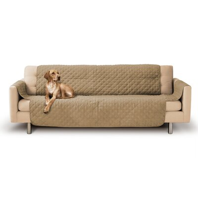 Durable Quilted Box Cushion Sofa Slipcover Upholstery: Camel Beige