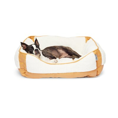 Sherpa Rectangular Cuddler Pet Bolster Color: Camel Beige/Ivory